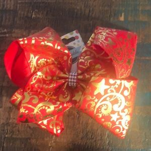NWT Holiday Red and Gold Bow